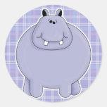 hippopotame potelé mignon autocollants