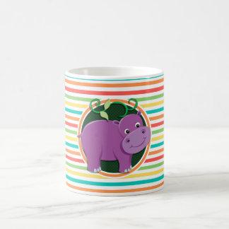Hippopotame Rayures lumineuses d arc-en-ciel Tasse