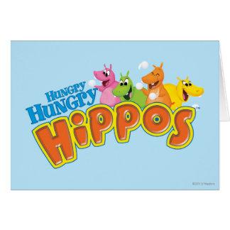 Hippopotames affamés affamés carte de vœux