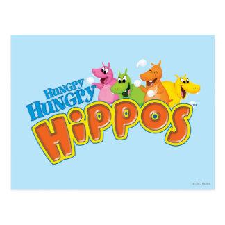 Hippopotames affamés affamés cartes postales
