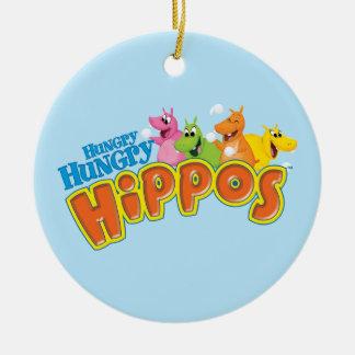 Hippopotames affamés affamés ornement rond en céramique