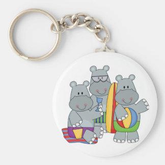 Hippopotames aux T-shirts et aux cadeaux de plage Porte-clef