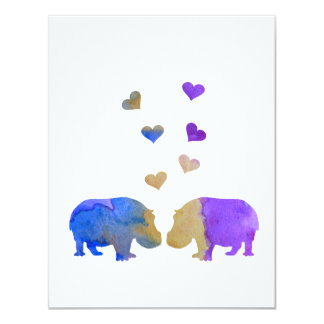 Hippopotames Carton D'invitation 10,79 Cm X 13,97 Cm