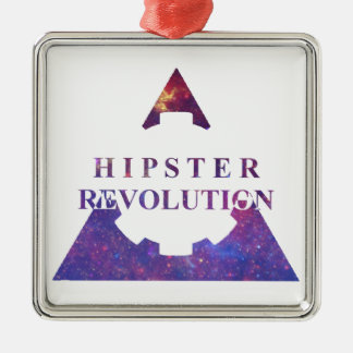 Hipster Revolution Gear Ornement Carré Argenté