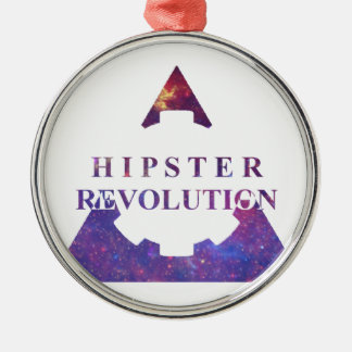 Hipster Revolution Gear Ornement Rond Argenté