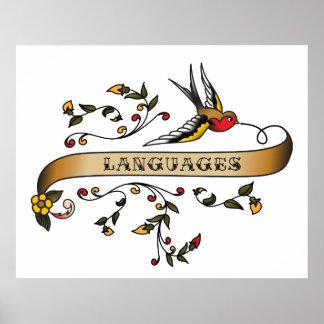 Hirondelle et rouleau avec des langues posters