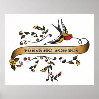 Hirondelle et rouleau avec la Science légale Posters