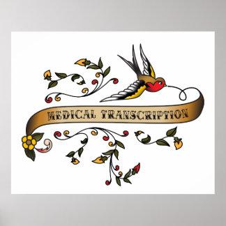 Hirondelle et rouleau avec la transcription médica posters