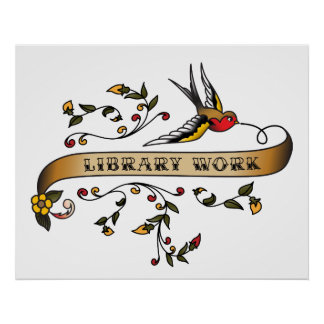Hirondelle et rouleau avec le travail de bibliothè posters