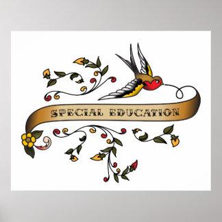 Hirondelle et rouleau avec l'éducation spéciale posters