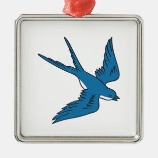 Hirondelle volant en bas du dessin ornement carré argenté
