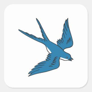 Hirondelle volant en bas du dessin sticker carré