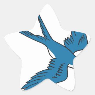 Hirondelle volant en bas du dessin sticker étoile