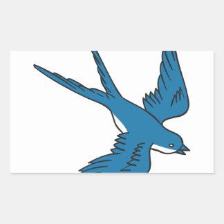 Hirondelle volant en bas du dessin sticker rectangulaire