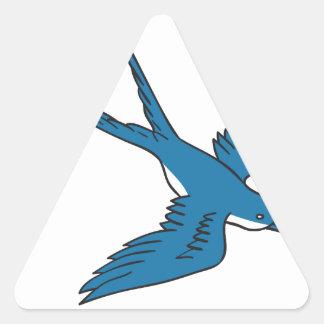 Hirondelle volant en bas du dessin sticker triangulaire