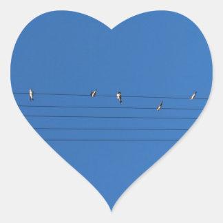 Hirondelles dans un coeur sticker cœur