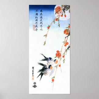 hirondelles de 歌川広重 et fleurs de pêche, Hiroshige Poster