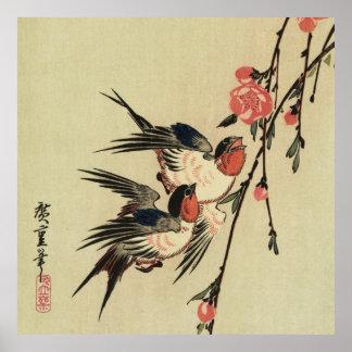 Hirondelles de Hiroshige et fleurs de pêche Affiches