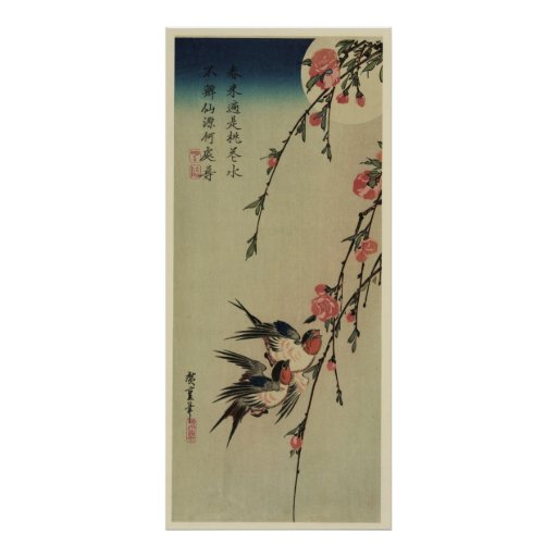 Hirondelles de Hiroshige et fleurs de pêche Posters