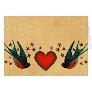 Hirondelles et étoiles carte de vœux