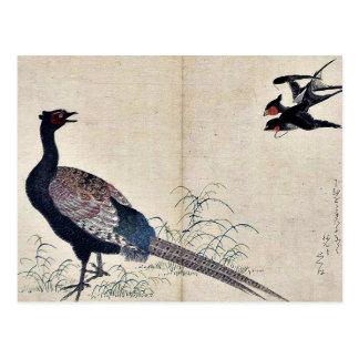 Hirondelles et faisan par Kitagawa, Utamaro Ukiyoe Cartes Postales