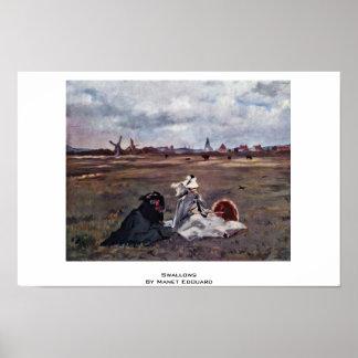 Hirondelles par Manet Edouard Affiches