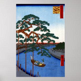Hiroshige cinq pins, canal d'Onagi Poster