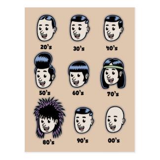 Histoire des cheveux des hommes carte postale