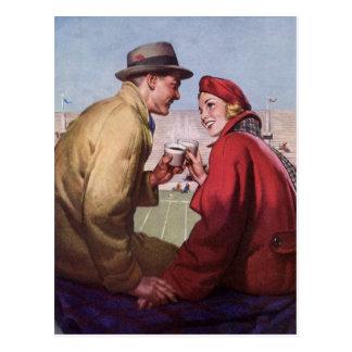 Histoires d'amour vintages, couple à la partie de carte postale