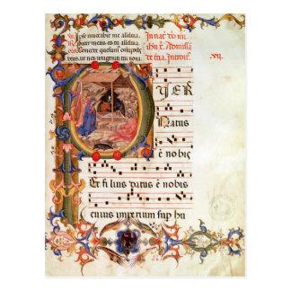 """Historiated parafent """"P"""" dépeignant la nativité Carte Postale"""