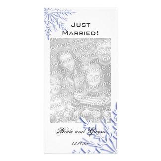 Hiver bleu de flocon de neige épousant juste marié cartes avec photo