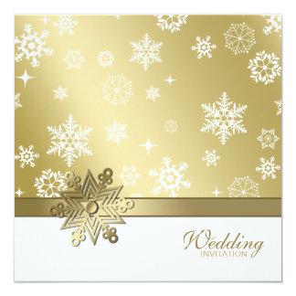 Hiver Champagne et épouser blanc de flocons de Carton D'invitation 13,33 Cm