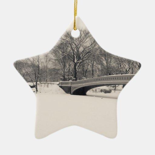 Hiver de Central Park - neige de pont d'arc Décorations Pour Sapins De Noël