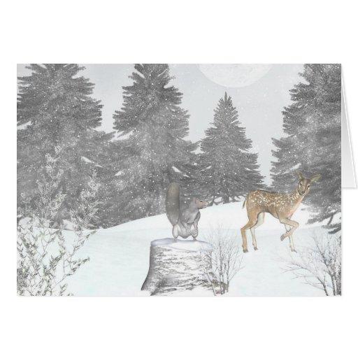 Hiver de forêt carte de vœux
