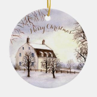 Hiver d'ornement de Noël en Nouvelle Angleterre Ornement Rond En Céramique