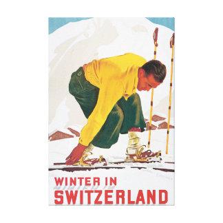 Hiver en affiche vintage de voyage de la Suisse Toiles