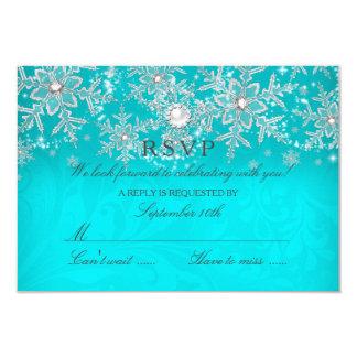 Hiver en cristal turquoise RSVP d'argent de flocon Carton D'invitation 8,89 Cm X 12,70 Cm