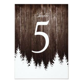 Hiver épousant la carte en bois rustique de nombre carton d'invitation  12,7 cm x 17,78 cm