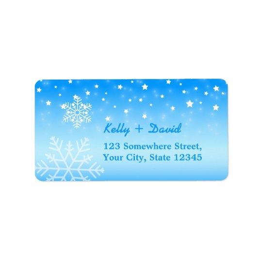 Hiver épousant les flocons de neige élégants étiquette d'adresse