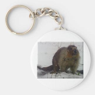 Hiver Marmot Porte-clé Rond