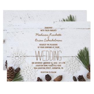 Hiver Pinecone et carte de mariage de flocons de