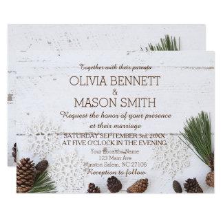 Hiver Pinecone et carte de mariage de flocons de Carton D'invitation 8,89 Cm X 12,70 Cm