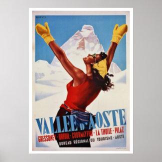 Hiver vintage augmentant le voyage italien d'Alpes Posters