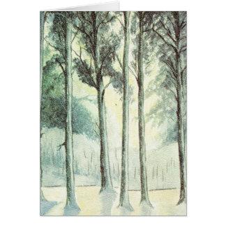 Hiver vintage, forêt givrée carte de vœux