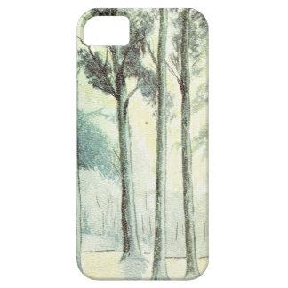 Hiver vintage, forêt givrée coque Case-Mate iPhone 5