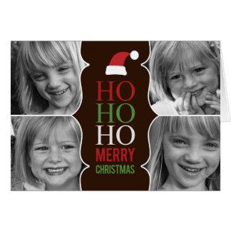 HO HO HO carte photo de Noël/vacances