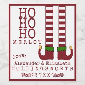 Ho Ho Ho étiquette de vin de Noël merlot