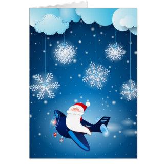 Ho ho ho ! Père Noël sur l'avion Carte De Vœux