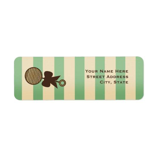 Hochet vert vintage et rayures de baby shower étiquette d'adresse retour
