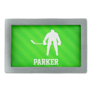 Hockey ; Rayures vertes au néon Boucles De Ceinture Rectangulaires